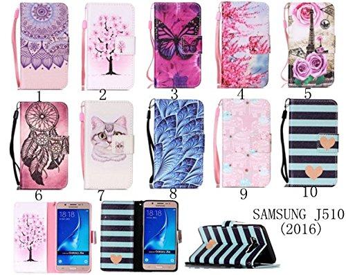 für Smartphone Samsung Galaxy J5 (2016) J510 Hülle, Leder Tasche für Samsung Galaxy J5 (2016) J510 Flip Cover Handyhülle Bookstyle mit Magnet Kartenfächer Standfunktion (+ Staubstecker ) (1OO) 8