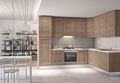 Tosend servizi sas cucina componibile composizione k0027 colore larice scuro escluso elettrodomestici