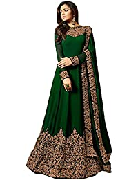 STYLE AMAZE Women's Georgette Dress Material (SA_LT 1701 Green_Green_Free Size)
