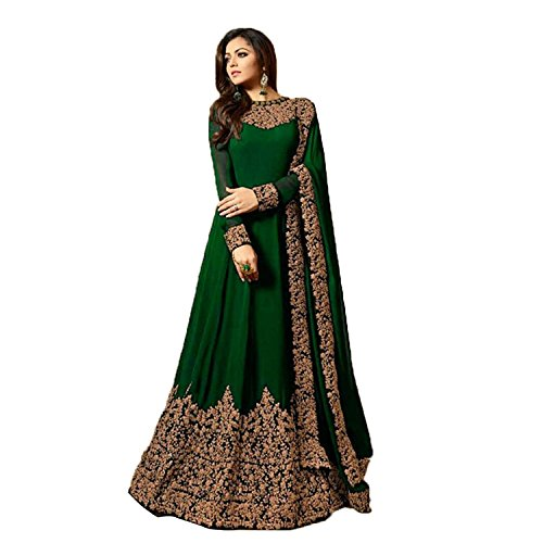 Monika Silk Mill Women\'s Latest Green Heavy Embroidered Party wear Festival wear Wedding Collection Anarkali Salwar Suit Dress Materials