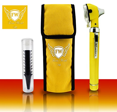 Mini-Otoskop für medizinische Untersuchung, Faseroptik, inkl. 10 Ohrspekulen, Gelb -