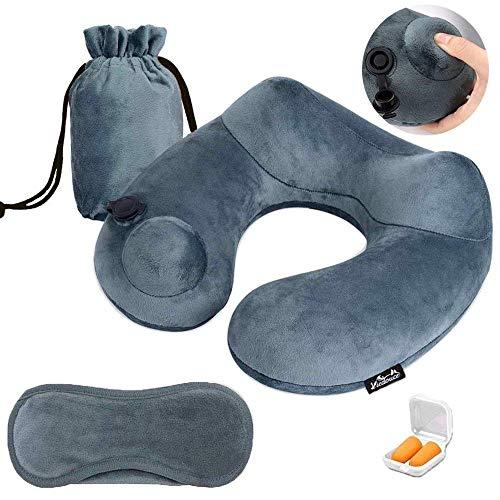 Viedouce cuscino da viaggio gonfiabile aereo,cuscini collo cervicale da viaggio,portatile ergonomico prodotto brevettato,design forma gobba,sostiene testa collo mento,per auto treno domestico dormire