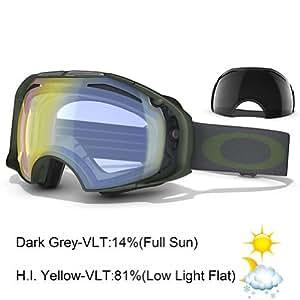 Oakley Airbrake Snow Oo7037 Surplus Green Frame/H.I. Yellow Iridium + Dark Grey Lens Plastic Sunglasses
