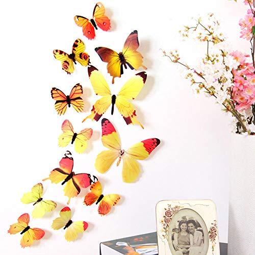 YOSICIK Wandaufkleber 12 Paar 3D DIY Wandaufkleber Aufkleber Schmetterling Wohnkultur Raumdekorationen Wandaufkleber Poster Tapete, Gelb (Paar Raumdekorationen)