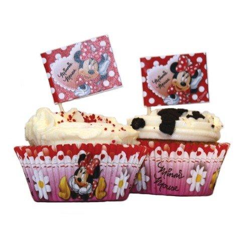 Moules papier et piques pour cup cake Disney Minnie Mouse