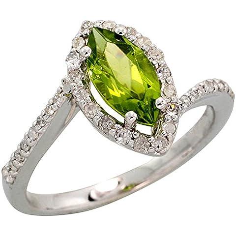 In oro bianco 14 k con anello, w/0,32 kt con diamanti taglio brillante, ct 1,17 & 10 x 5 mm, con pietre di peridoto taglio Marquise, 1/(2 5,08 cm (13