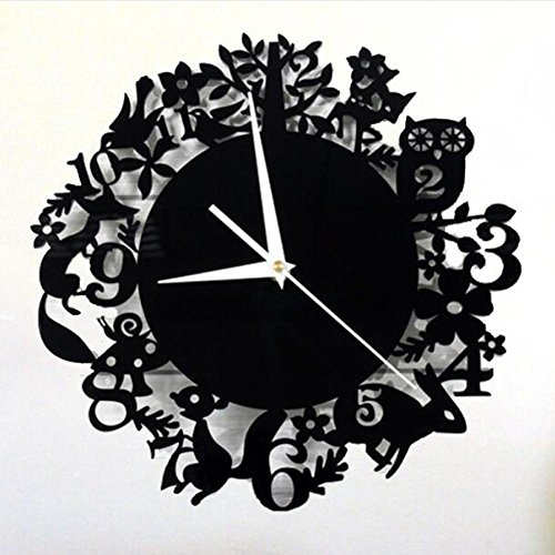 mignon-foret-animal-bois-horloge-murale-retro-creatif-12-zodiac-cartoon-pastoral-black