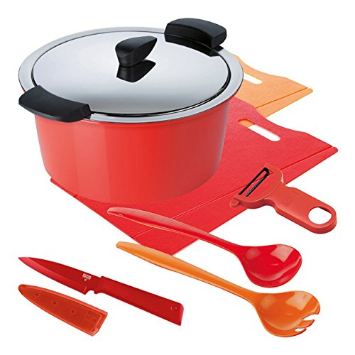 KUHN RIKON 30893 HOTPAN Set rot/orange 3.0L/22cm Kochtopf, Edelstahl, 22 cm, 5-Einheiten