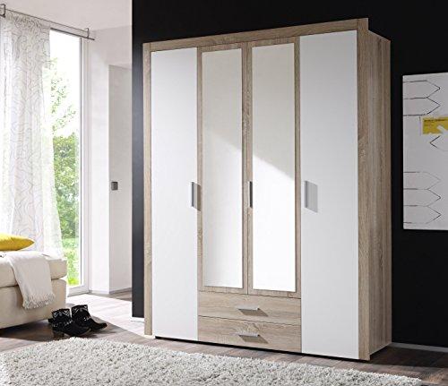 Avanti trendstore - armadio in quercia sonoma/ bianco , 156x195x53cm