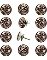 Decokrafts White Floral Hand Painted Round Ceramic Knobs for Kitchen Cabinets and Door
