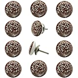 Decokrafts Hand Painted Floral Round Ceramic Knobs for Kitchen Cabinets and Drawer (Brown and White)- Pack of 12 Pieces