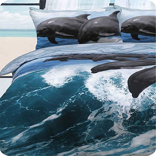 """Clyde Linen \""""Delphin Waves Bettwäsche-Set für Doppelbett, wendbar, Blau/Weiß"""