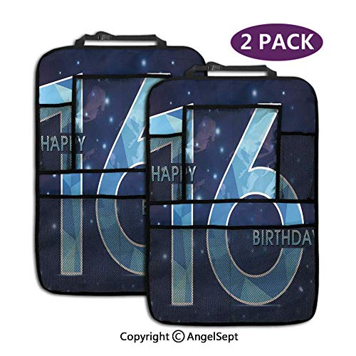 Not applicable Rücksitz Auto Organizer, Gruß Joyful Cheerful Age Celebration Nachthimmel Display Dark Sky Blue, Autositzschutz mit Tablet-Halter (2 Stück)