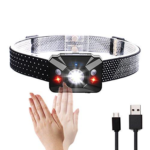 USB Wiederaufladbare Mini Stirnlampe, LED Stirnlampe mit Sensor Switch, Wasserdichte Kopflampe mit Weiß Rot Licht, Head Light Leichtgewicht für Laufen, Camping, Jogging, Kinder Erwachsene