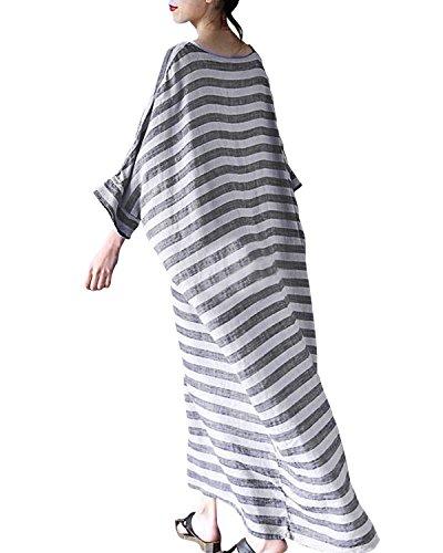StyleDome Donna Vestito Maxi a Righe Mezza Maniche Sexy Casual Elegante Cotone Spiaggia Cocktail Blu