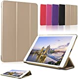 "iPad Pro Case,SAVFY Ultra Slim Apple iPad Pro 12.9"" Smart Cover Folio Full Protection Stand Case for iPad Pro With Magnetic Auto Wake & Sleep Function + Screen Protector (Gold)"