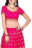 Fast Fashions Women's Pink Heavy Embroidered Taffeta Silk Lehenga Choli (Pink_Free Size)