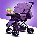 HJFBW Kinderwagen Buggy Faltbar Travel Buggy 5 Punkt Gurtsystem Schwenkbar Regenschutz Kinderwagen,Purple