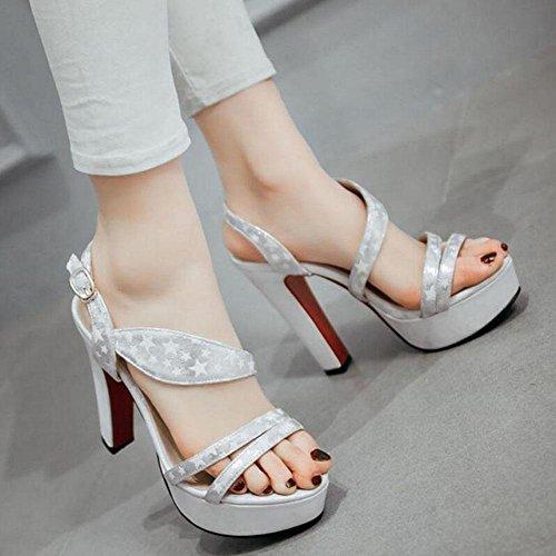 Frauen Open Toe Knöchelriemen Pumpe Spleißen Farbe Fünf-Spitz Star Rough Sandalen Hohe römische Sandalen Größe 40-43 Silver