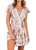 Ajpguot Vestido de Verano Mujer Impresión Mini Vestidos de Playa V-Cuello Manga Corta Vestido con Cinturón Sundress Elegante Corto Dress de Partido Fiesta (S, 183045 Beige)