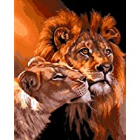 TianMai New Paint by Number Kits - Lion and His Wife 16x20 inch Linen Canvas Paintworks - Digital Oil Painting Canvas Kits for Adults Children Kids Decorations Christmas Gifts (With Frame)