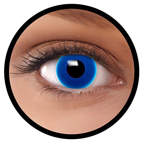 (FXEYEZ® Farbige Kontaktlinsen blau Dunkel Blau + Linsenbehälter, weich, ohne Stärke als 2er Pack - angenehm zu tragen und perfekt zu Halloween, Karneval, Fasching oder Fasnacht)