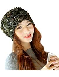 Chapeau Femme Hiver Fleur Dentelle Bonnet Turban