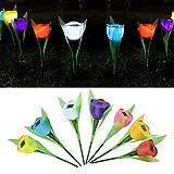 5pcs Multicolore Tulipe LED de Haute Simulation Solaire Fleurs Lumineux Décoration pour Jardin Pelouse Terrasse Balcon Cour - 5 Couleurs Aléatoires