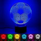 Fußball 3D Illusion Nachtlampe,7 Farben ändern Touch Control LED Schreibtisch Tisch Nachtlicht,USB Powered für Weltmeisterschaft Kinder Familie Ferienhaus Dekoration Weihnachten Valentinstag