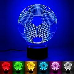 Idea Regalo - luce di notte del calcio 3D LED, lampada visiva dell'illusione ottica 3D 7 Cambiare colore Touch & Remote USB tavolo regalo giocattoli decorazioni (calcio)