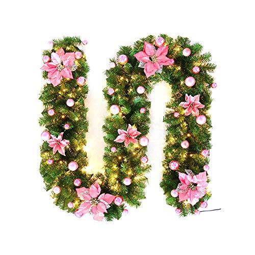 Smarthitech ghirlanda natalizia da 9 ft / 2.7m, ghirlanda decorata pre-illuminata a luce floreale a led, ghirlande artificiali illuminate per scale decorazione per feste con camino (rosa)