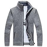 Pullover Männer Winter solide Verdicken Outerwear Sweatercoat Casual Strickjacken samt innen Grau XXXL