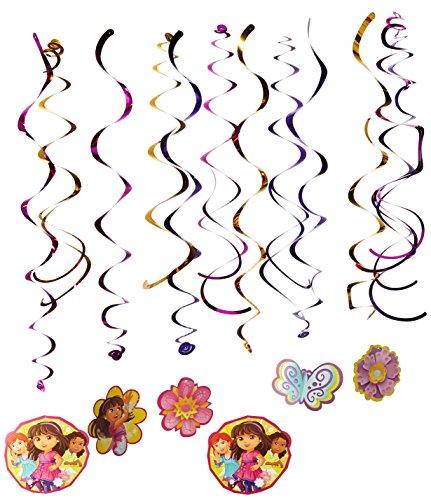 amscan Charming Dora & Friends Swirl Dekoration Geburtstag Party Dekorationen (12Pack), Multi Color, 17,8cm