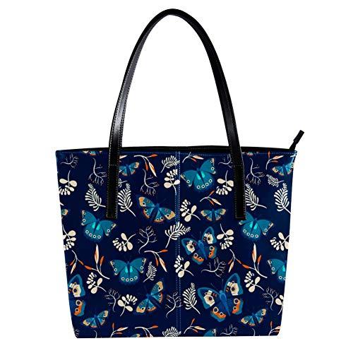 Women's Bag Shoulder Tote handbag with Blue Butterflies Pattern print Zipper Purse PU Leather Top-handle Zip Bags -