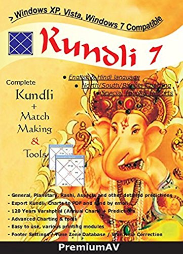Kundli 7 English and Hindi Language Complete Kundli Software + Match Making & Tools By PremiumAV