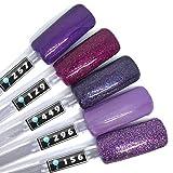 Color Gel 5er Set (je 5ml): Purple Nights Kollektion - Gel Lila, Gel Rosa, Gel Pink