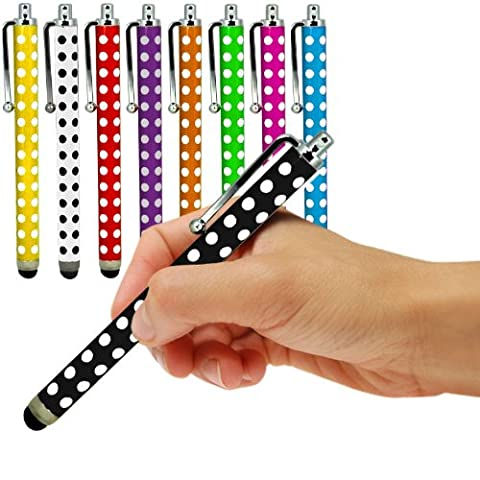 Blackberry Storm 9530 Packung von 9 Mixed Colours Of Polka Aluminium Kapazitive Stylus Durch Fone-Case