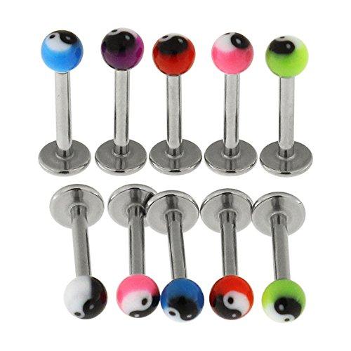 10 St?ck Packung UV-Yin Yang Kugeln mit 16 Gauge (1,2 mm) - 6MM L?nge 316L chirurgischer Stahl Lippe Labret Tragus Piercing