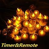 Topstone 24 PCS flackernde LED-Teelichter Fernbedienung batteriebetrieben Flammenlose Kerzen Lichter mit 4 H, 6 h, 8 H TIMER, für Hochzeit, Geburtstag, Weihnachten Party