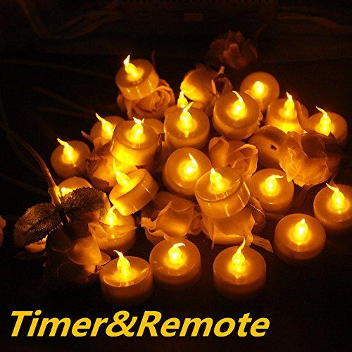 Teelicht Fernbedienung (Topstone 24 PCS flackernde LED-Teelichter Fernbedienung batteriebetrieben Flammenlose Kerzen Lichter mit 4 H, 6 h, 8 H TIMER, für Hochzeit, Geburtstag, Weihnachten Party)