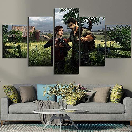 HIMFL Leinwand gedruckt Bilder Poster Wandkunst 5 Panel Last of Us-Videospiel Gemälde Zuhause Dekoration Modul Für das Wohnzimmer,A,30×50×2+30×70×2+30×80×1 -