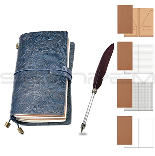 carved-vintage-leather-cover-jotter-diary-notebook-feather-pen-spiral-notepad-classic-embossed-trave