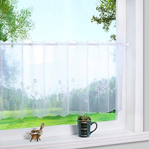 1er Pack Stickblume Voile Scheibengardine Kleine Kaffee Vorhang BxH  140x60cm Weiß