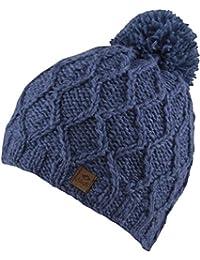 FINJA -Strick Mütze mit Innenfleece Unisex Strickmütze mit trendigen Muster und Bommel - handmade in Nepal - 100% Wolle