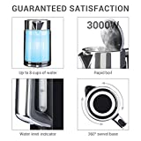 Sensio Home Water Dispenser Kettle - 1.7L High Capacity Black Metal Jug - 3kW Rapid-Boil Heater Element - Instant Hot Boiling Water, Brushed Stainless Steel, BPA Free - Cordless 360° Multi Boiler with External Water Level Indicator & Illuminating Gauge