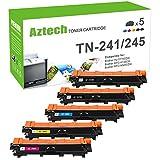 Aztech 5 Pack XXL Kompatibel für Brother TN241 TN-241 TN 241 TN-245 TN245 Toner für Brother HL-3140CW 3142CW 3150CDW 3152CDW 3170CDW 3172CDW MFC-9130CW 9140CDN 9330CDW 9340CDW DCP-9020CDW Farblaserdrucker Multifunktionsgerät