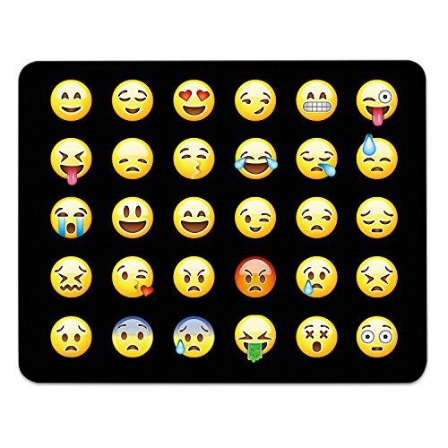 Addies Mousepad Emoji/Emoticons. Sehr schönes Mauspad Motiv in feiner Cellophan Geschenk-Verpackung mit Kautschuk Untermaterial, schwarz, 240mm x 190mm, alle Emojis Motiv-1 -