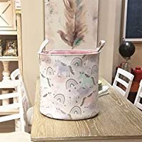 Cotton Linen Storage Bins Desktop Storage Box Home Table Bin Foldable Bucket with Carry Rope