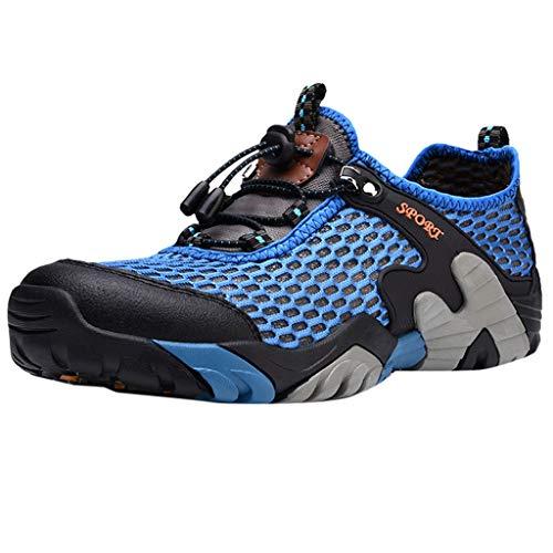 CUTUDE Schuhe Herren Sneaker Lässige Turnschuhe Laufschuhe mit Runder Zehenpartie Leichte Joggingschuhe Atmungsaktive Schnürschuhe rutschfeste Wanderschuhe (Blau, 43 EU) Evo Mid Sneaker