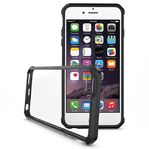 Ouneed® Hülle für iPhone 6 Plus/6s Plus 5.5 inch , Transparent Crystal Clear Hart Air Hybrid Fall Abdeckung für iPhone 6 Plus / 6s plus 5,5 Zoll (6/6s plus 5.5 inch, Klar) Schwarz